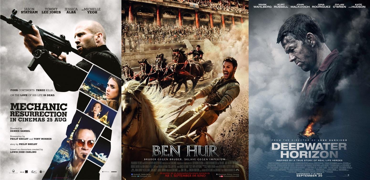 """Filmkritiken zu """"Mechanic: Resurrection"""", """"Ben Hur"""" und """"Deepwater Horizon"""""""